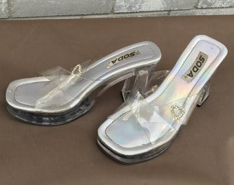 rare soda iridescent clear heels