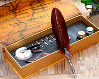 Writting Feather quill pen set- Antique Feather Pen Set - Metal Nibbed Calligraphy Pen Set Writing Quill-White Marble Pen Stand -MK-003-02