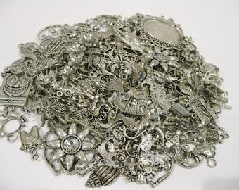 Charm Lot 100 Pieces Tibetan Silver Charms
