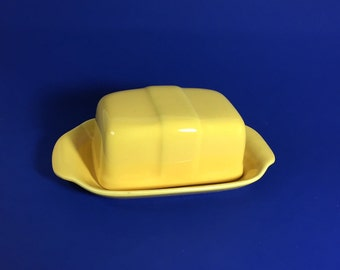 Bauer Pottery Butter Dish in Yellow, Half Stick, Monterey Moderne, 1940's- 50's