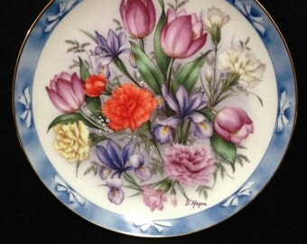 "Vintage ""Bouquets of the World Plate by the Danbury Mint; Plate #3729   (LDT3)"
