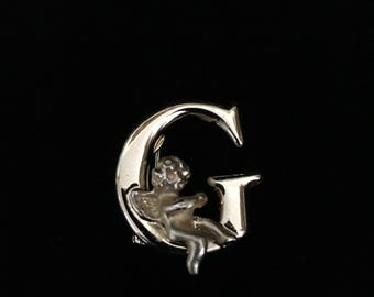 "Vintage L.Razza Goldtone ""G"" Monogram w/Cherub or Angel Brooch (Tier 2)"