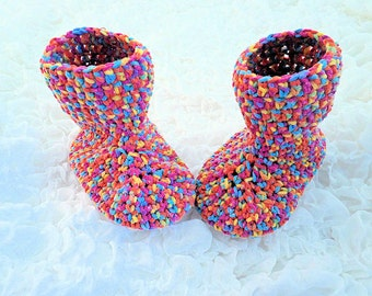 Toddler Booties, Toddler Slippers, Age 2-3 Years, Crochet Boots, Crochet Slippers, Child's Gift, Multi-Coloured Slippers, Handmade Slippers