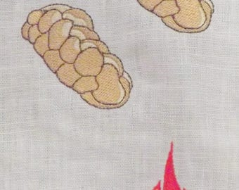 Shavuot (Pentecost) 100% Linen Feast Day Banner with Twelve Embroideries and a Hand-Painted Natural Fray Trim