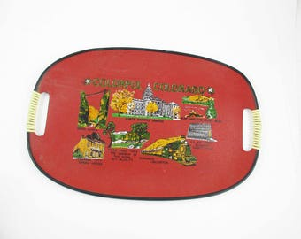 A 'Colorful Colorado' Red Tray - Serving - 'US Air Force', 'Royal Gorge', 'Central City Opera', 'Pikes Peak' - Serving Tray - Carry Stuff