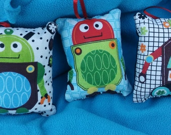 Robot Pillow Ornaments  - Set of 3