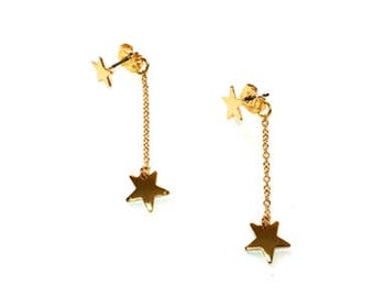 Star Post Earring with Back Star Drop, Long Earring, Gold Earring