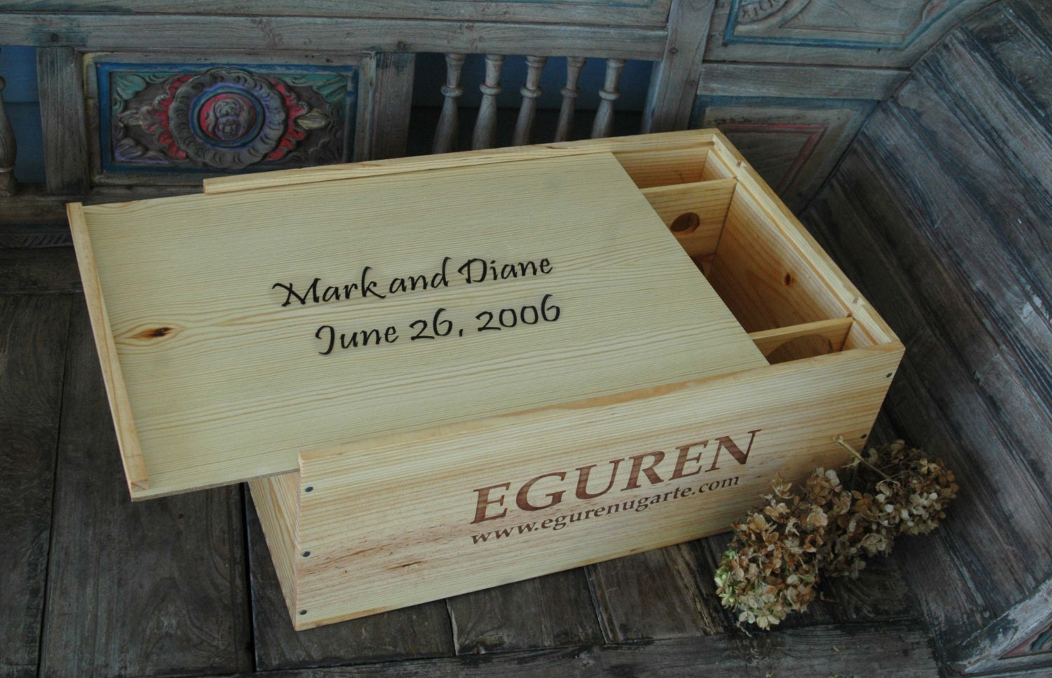 Wine Crate Wedding Card Box Storage Container Personalized