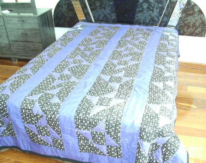 Sale: Patchwork Purple Shoo fly Queen size quilt, Bedding or Modern Quilt