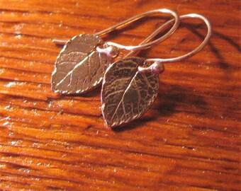 Small Rose Gold Earrings Rose Leaf Earrings- Minimalist Jewelry-Dangle Earrings-ToniRaeCreations