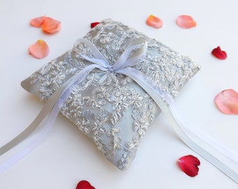 Silver Wedding ring pillow. Silver satin ring bearer decorated with silver beaded lace embroidery
