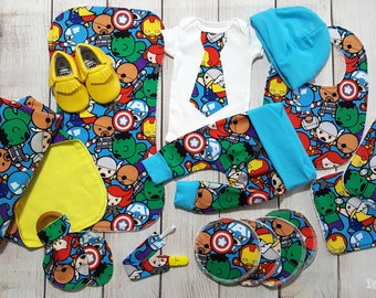 Baby Boy Marvel Superhero Avengers Baby Boy Gift Set, Marvel Baby Boy Coming Home Outfit Gift Set *2 Purchasing Options*