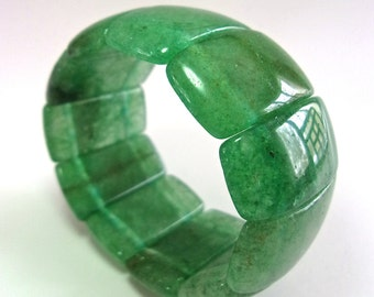 Natural Aventurine Chunky Stretch Bracelet, Jade Green, Vintage