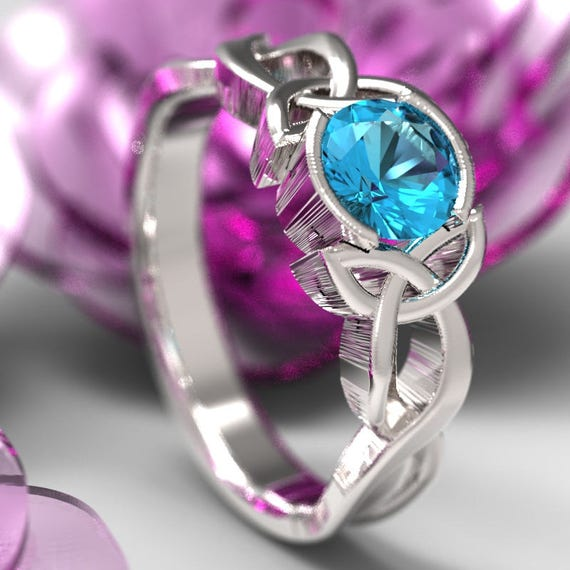 Celtic Aqua Topaz Ring With Trinity Knot Design in Sterling Silver, Made in Your Size CR-405b