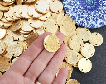 5 Plain Round Rustic Disc Connectors  Jewelry Making Supplies Findings - 22k Matte Gold Plated
