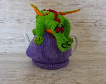 Knitted Tea Cosy Cozy Cute Fantasy Green Giant Dragon Shabby Chic