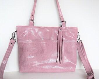 Dusty pink leather shoulder or crossbody bag.   Shoulder bag in pink snakeskin leather.