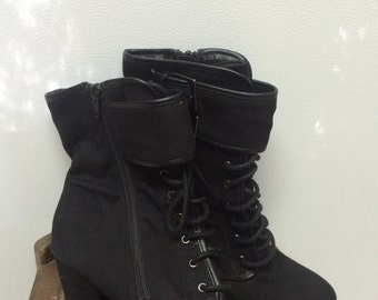 Items similar to Punk rock boots Leopard print combat boots red