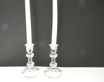 Pair Toscany 24% Lead Crystal Candle Holders, vintage Hexagonial Made in Austria holders,  elegant lighting,  original label, wedding gift