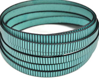 """10MM Flat Turquoise Leather w/Black Stripe - 2ft/24""""  - Turquoise/Black - Best Quality European Leather Cord"""