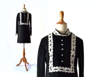 1960s dress, 60s Dress, Velvet Dress, Black Dress, Mod Dress, Boho Dress, Black Mini Dress, Vintage 1960s Vintage Clothing