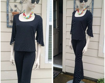 vintage 90s set of stripes pants and top by es.se usa size s
