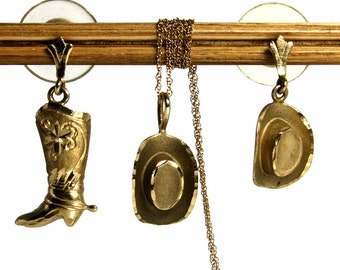 Western Jewelry Necklace Earring Set Vintage Cowgirl Boots And Hat 14K Gold