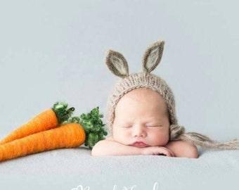 Newborn Bunny bonnet, Felted Bunny Bonnet, Easter Photoprop, Newborn Easter Prop, Newborn Animal Bonnet, Photoprop Bunny Bonnet