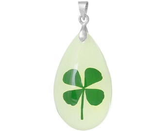 Glow in the Dark, Shamrock Pendant, Lucky Charm, St. Patrick's Day, Irish Pendant, Leperchaun Luck, Four Leaf Clover, Clover Pendant, ACR034