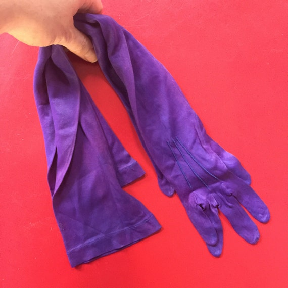long indigo purple gloves Evening nylon button 1920s 1930s pin up glamour x small petite opera length