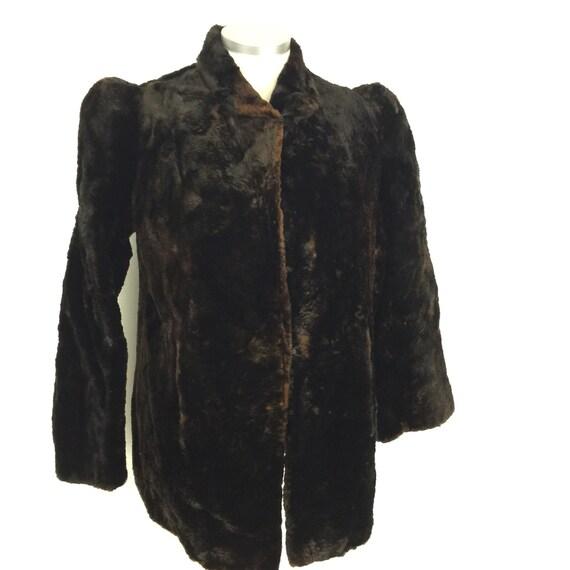 1940s coat fur jacket brown shaved beaver A line hip length UK 10 40s winter coat flared sleeves