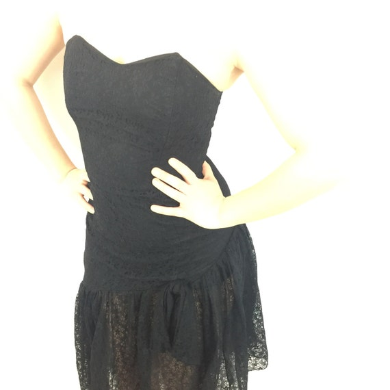 Vintage lace bustier dress boned strapless black party 1950s style evening alt girl goth prom UK 8 sweetheart sexy drop waist sheer skirt