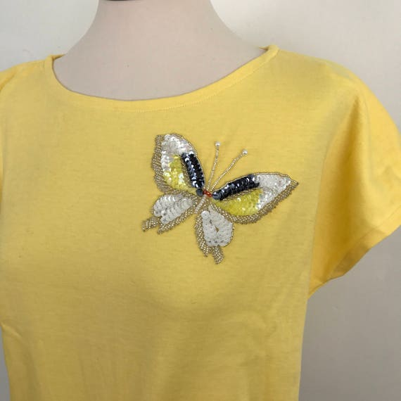 Vintage tee 1980s t shirt beaded butterfly yellow top 80s nu wave sparkly UK 10 glam