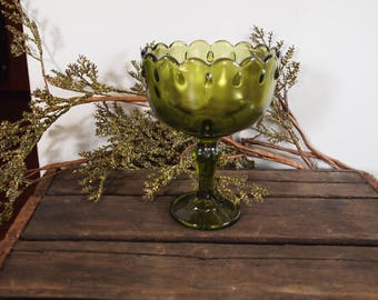 Large Vintage Compote, Pedestal Compote, Candy Dish, Olive Green Composte, Indiana Glass