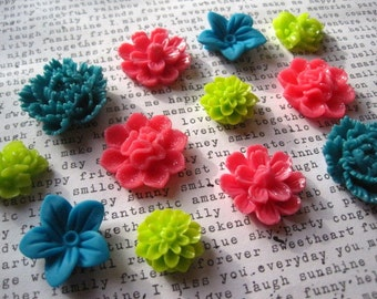 Magnets, 12 pc Flower Magnets, Dark Pink, Teal and Lime Green, Housewarming Gifts, Hostess Gifts, Wedding Favors