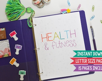 Fitness Planner, Health and Fitness Planner, Printable Fitness Planner, Fitness Planner Printable, LETTER Size, 15 Pages