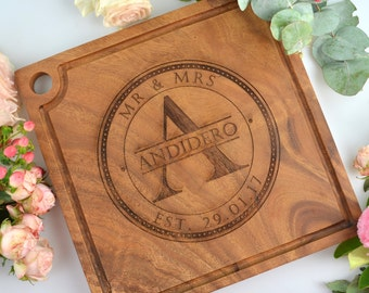 1x Engraved Deluxe Square Cheese Serving Chopping Board