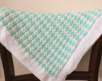 Baby Blanket Hand knitted in mock cable pattern,turquoise & white, washable. FREEPOST UK