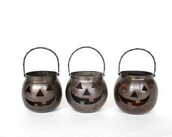Jack O Lanterns - Vintage Halloween Decor - Halloween Decorations - Votive Holders -Metal Jack O Lanterns -Halloween Home Decor -Party Decor