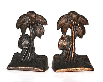 Palm Tree Bookends - Vintage Bookends - Palm Tree Decor - Metal Bookends - Miami Gift - Tropical Decor - Coconut Tree Bookends - Beach Decor