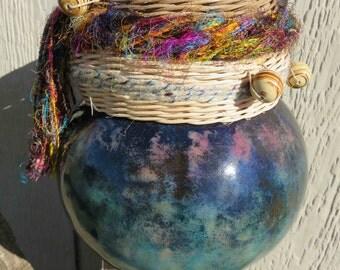 Gourd art, ocean blue, with weaving