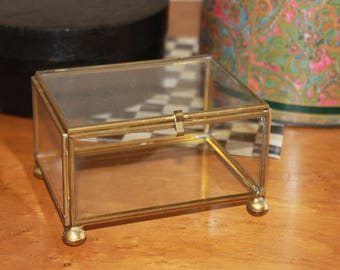 Vintage Brass and Glass Hinged Dresser Trinket Display Storage Box