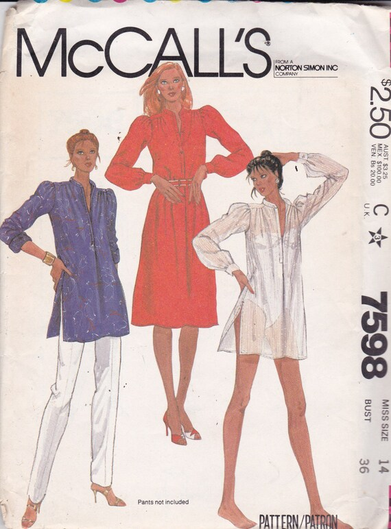 Mccalls 7598 Vintage Pattern Womens Button Down Shirt Dress Or