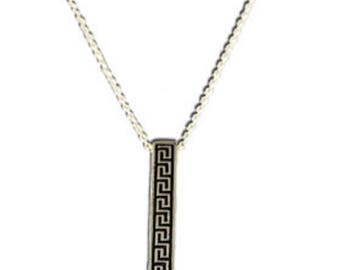 "Ancient Greek Key Column Sterling Silver Pendant with 16"" chain, Made In Greece"