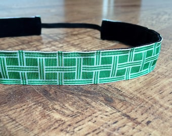 green headband. green and white headband, green basketweave headband, women's headband, sports headband, team uniforms, hair accessory