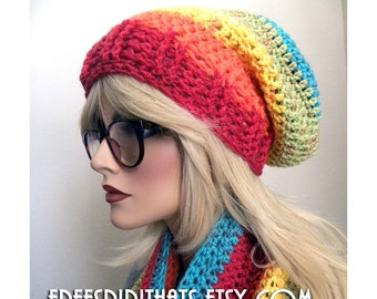 Colorful Slouch Hat, Boho Accessory ,Beautiful Mexician Art Colors, Wool Blend, Winter Accessories, Gift for Women and Girls, Ready to ship
