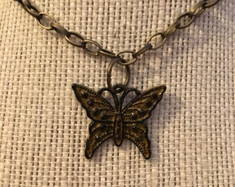 """16"""" Black&Gold Butterfly Necklace"""