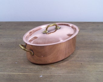 """French 10"""" Copper Oval 2mm Casserole Oven Stew Cocotte Pan Pot Lid Cookware"""