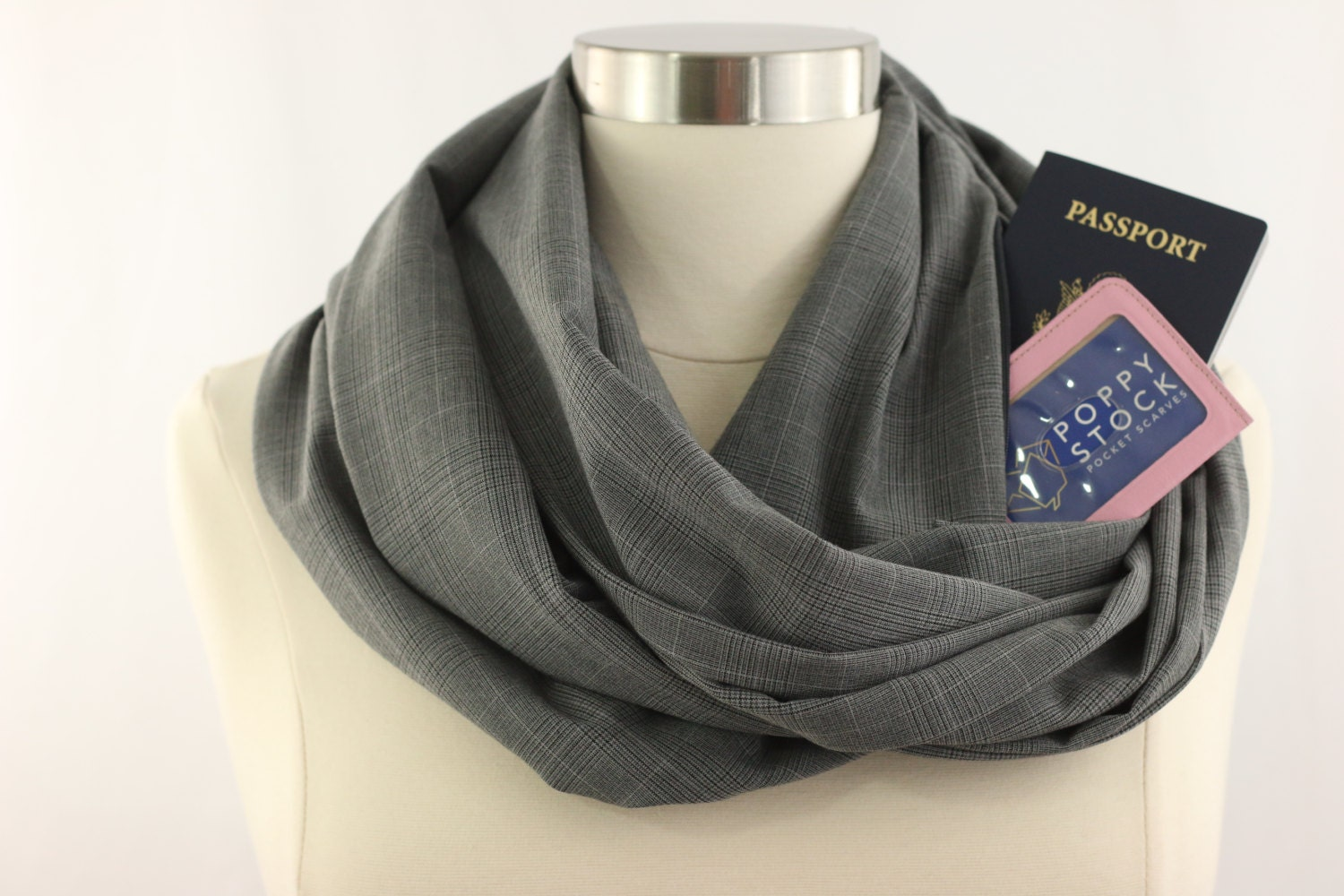 Grey plaid infinity scarf with pocket travel gift for Travel scarf