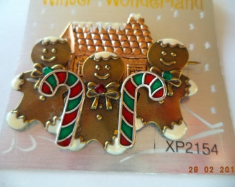 Fabulous Unsigned Goldtone Candy Cane Gingerbread Men and  House Brooch/Pin